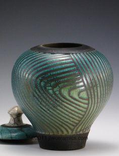 blue lidded rku vase jlw ceramics