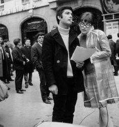 "cinemarhplus:  "" Anna Karina and Jean-Claude Brialy n the set of Anna  """