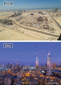 Antes e depois de cidades em torno do mundo