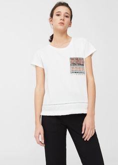 T-shirt à poche brodée | MANGO