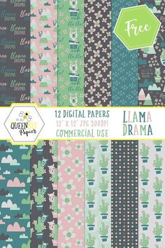 """Free Printable Digital Llama Scrapbook Paper. Includes personal and commercial use license with credit. This cute pack of """"Llama Drama"""" papers is perfect for scrapbooking, card making, mixed media, product creation, and more. #freeprintables #freedigitalpaper #scrapbookpaper #scrapbooking #scrapbooking #digitalscrapbooking #digitalscrapbookpaper #digitalpaper #llama #mixedmediacollage"""