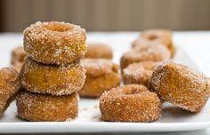 Mini Cinnamon Sugar Pumpkin Spiced Doughnuts and a link to maple glaze option (I will get a doughnut pan eventually)