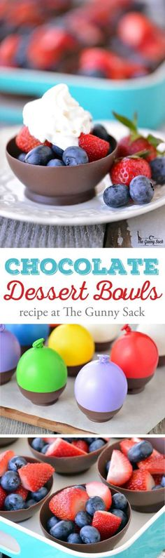 # Chocolate Dessert Bowls are made by dipping balloons in chocolate! The recipe is easy to and chocolate bowls can be filled with fresh fruit. Sponsored by Target. Just Desserts, Delicious Desserts, Dessert Recipes, Yummy Food, Tasty, French Desserts, Baking Desserts, Yummy Treats, Sweet Treats