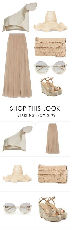 """""""Ruffle Mania"""" by im-karla-with-a-k ❤ liked on Polyvore featuring Isabel Marant, Needle & Thread, Rosie Assoulin, Chanel and Sergio Rossi"""