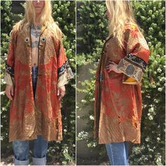 Ceremonial kimono Antique robe 1800s Heavily Embroidered Gold