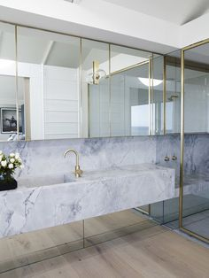 Clovelly House II Marble and gold bathroom design - perfect for large spaces, master bathrooms and l Bad Inspiration, Bathroom Inspiration, Interior Inspiration, Gold Bathroom, Modern Bathroom, Carrara Marble Bathroom, Bathroom Tapware, Minimal Bathroom, Bathroom Spa