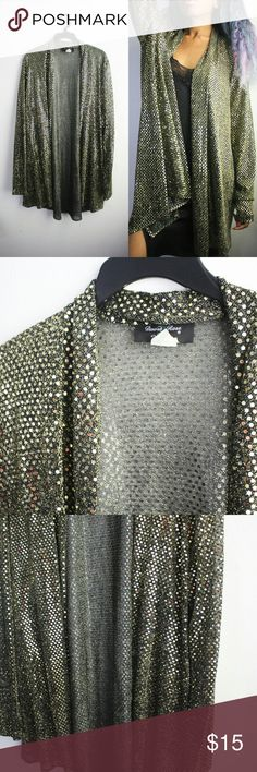 "Vintage Gold Sequin Long Cardigan Size L. Bust ""42"", length ""38"". Amazing cardigan featuring an allover sequin pattern. Vintage Sweaters Cardigans"