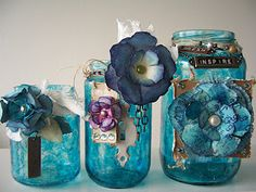 Paperiah: January 2012 Girlie Grunge Challenge. Altered jars for art supply storage :-)