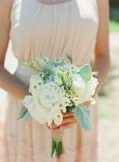Rustic wedding bouquet idea - bridesmaids bouquet with white peonies, daisies and lamb's ear {Laura Murray Photography}