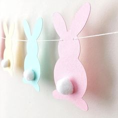 Pastel Bunny Easter Garland Rabbit Garland Bunny Baby Shower Birthday Pink Yellow Aqua Bunny Banner Easter Decorations Spring Home Decor -- Bunnies are ma Easter Garland, Easter Banner, Bunny Crafts, Easter Crafts For Kids, Paper Easter Crafts, Spring Crafts, Holiday Crafts, Bunny Birthday, Yellow Birthday
