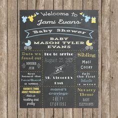 Custom Chalkboard Clothing Line & Baby Carriages Baby Shower Sign