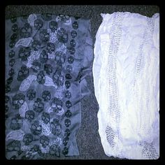 2 scarves 1 grays scarf with black skulls and white paisley print. 1 white scarf with a knitted look. Both have friends. Both about 1 foot wide. About 3 feet long without fringe. No name Accessories Scarves & Wraps