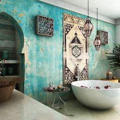 Moroccan bathroom inspiration . . . #morocco #morocco #morocco #riad #moroccaninteriors #moroccantiles #moroccaninspiration #palms #marrakech #interiors #bahiapalace #orangerie #boho #bohointeriors #interiorstyling #tiletuesday #mydearmorocco #bohemia #luxebohemia #exploredreamdiscover #bohohome #bohostyle #boholuxe #bathroom #bathroomdesign #moroccanbathroom #tadelakt