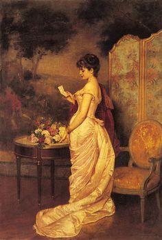 "'The Love Letter' 1883 ~   Auguste Toulmouche [French artist, 1829-1890]. Known for his portraits of Parisian women; Émile Zola spoke of ""Toulmouche's delicious dolls."""