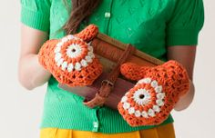 Campus Mittens | crochet today by  Beth Nielsen. The way the granny square is altered really shows and looks immaculte