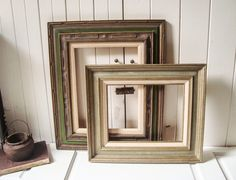 vintage pair of rustic wooden picture frames green large open frames rustic farmhouse frames 12 x 16 frame 11 x 14 frame green frames