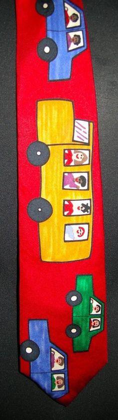 School Bus Teacher Road to Success Mens Neck Tie Save the Children Education #SalantMenswearGroup #NeckTie