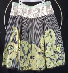 CAbi Mixed Floral & Stripes A-Line Pleated Skirt (6/M) Embroidered Yellow/Brown #CAbi #ALine