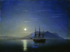 Sailing off the coast of the Crimea in the moonlit night - Ivan Aivazovsky, 1858