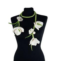 Wedding Collar felt Necklace Felted Collar Flower Collar art jewerly nunofelt Nuno felt collar Art deco silk Fiber Art boho