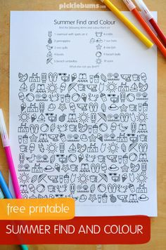 Free printable find and color activity for kids. Perfect for summer break! - - Free printable find and color activity for kids. Perfect for summer break! Free printable find and color activity for kids. Perfect for summer break! Color Activities, Learning Activities, Kids Learning, Kids Summer Activities, 4th Grade Activities, Road Trip Activities, Road Trip Games, Indoor Activities, Camping Info