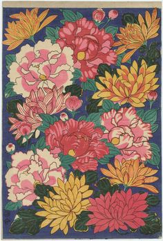 Design of Peonies and Chrysanthemums Woodblock print by Artist Unknown, JapaneseImage and text courtesy MFA Boston (heaveninawildflower) Japanese Flower Tattoo, Japanese Flowers, Japon Illustration, Botanical Illustration, Japanese Prints, Japanese Art, Asian Flowers, Drawing Sketches, Drawings