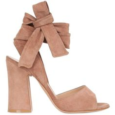 Gianvito Rossi Women 100mm Lace Up Suede Sandals (3.370 RON) ❤ liked on Polyvore featuring shoes, sandals, nude, wrap sandals, high heeled footwear, nude high heel shoes, suede lace up sandals and laced sandals