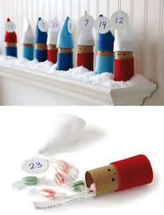 15 DIY Advent Calendars For Kids! Tube elves :D