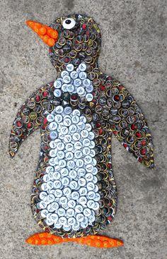 Penguin bottle cap art