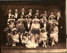 +~+~ Antique Photograph ~+~+   Large wedding party 1921.