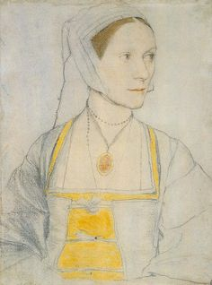 Cecily Heron, by Hans Holbein, 1527. note the ties in front rather than laced up & wonderful head-wear & veil