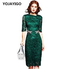 2017 Spring new Fashion Women Dress,O-Neck Hollow Out Solid Slim Sexy Lace Tunic Bodycon Fashion Dress,Embroidery Green Vestidos