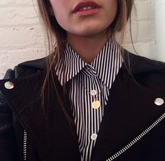 striped button-up + black jacket.