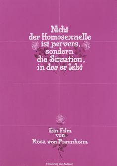 Plakat zu einem Film von Rosa von Praunheim über homosexuelle Lebensformen, 1971 © DHM Film Poster, Movie Posters, Vintage Designs, Blog, Cinema, History, Quotes, Movies, Movie