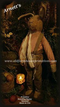 """Arnett's Primitive Standing Bunny """"Wendell"""" (Made In USA)"""