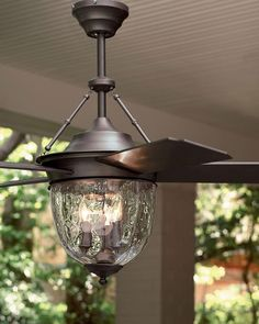 Dark Aged Bronze Outdoor Ceiling Fan with Lantern