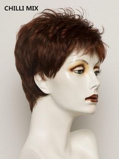 Tab | Synthetic Wig (Mono Crown) – franzb Short Wigs, Short Pixie, Synthetic Lace Front Wigs, Synthetic Wigs, Natural Hair Growth, Natural Hair Styles, Tapered Haircut For Women, Blonde Roots, Sandy Blonde