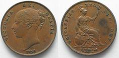 1858 England GREAT BRITAIN Penny 1858 w/o W VICTORIA copper XF! # 95215 EF