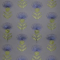 Voyage Highland Fabric - Munro (Embroidered Thistle) in Azure.
