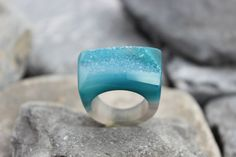 Druzy agate ring carved green gemstone all stone chunky unique hand made us9    eBay