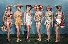 Bikini History: The Evolution of Ladies Swimwear - Ladies swimwear has indeed come a long way. Keep reading to learn about the history of ladies swimwear. 1940s Fashion, Vintage Fashion, Vintage Clothing, Vintage Style, Retro Vintage, Wolf, Fashion Articles, Glamour, The Bikini