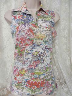 ED HARDY By Christian Audigier Polo Reverse Print Tattoo Lion Floral Sun #EdHardy #PoloShirt #Casual