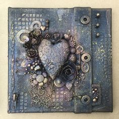 """Mixed media, an old denim skirt stretched over an 8x8"""" canvas. 3 of 3"""
