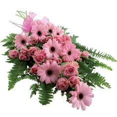 Funeral Spray/Sheave of roses and gerbera daisies for a feminine send off. Funeral Flower Arrangements, Funeral Flowers, Casket Flowers, Funeral Caskets, Funeral Sprays, Casket Sprays, Memorial Flowers, Cemetery Flowers, Corporate Flowers