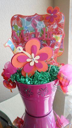 Luau Happy Birthday Centerpiece by A Sweet Celebration on Etsy