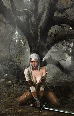 Ciri from The Witcher 3 Wild Hunt by Sergey Kalinin Fantasy Warrior, Fantasy Girl, 3d Fantasy, Fantasy Kunst, Fantasy Women, Medieval Fantasy, Fantasy Artwork, Dark Fantasy, The Witcher Wild Hunt