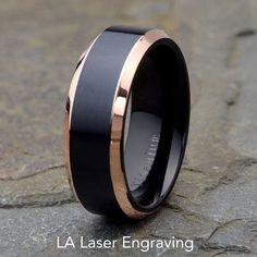 Mens Titanium Wedding Band Polished Beveled by LALaserEngraving