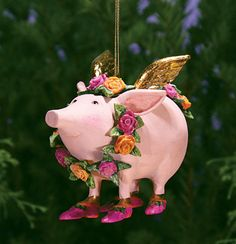 Rose Flying Pig Ornament