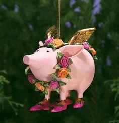 Rose Flying Pig Ornament