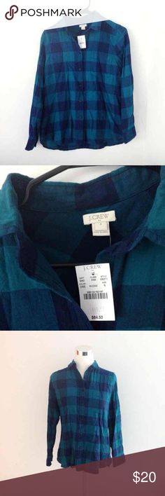 J. Crew Navy/Teal Checkered Plaid NWT; the perfect flannel from J. Crew. Navy and green flannel. Not a forest green more of a turquoise color in addition to the navy. Wear alone or over a tank and it's the perfect fall outfit.  Women's Size 6 (S/M)  I give discounts for bundles! :) cheaper with Ⓜ️ J. Crew Tops Button Down Shirts